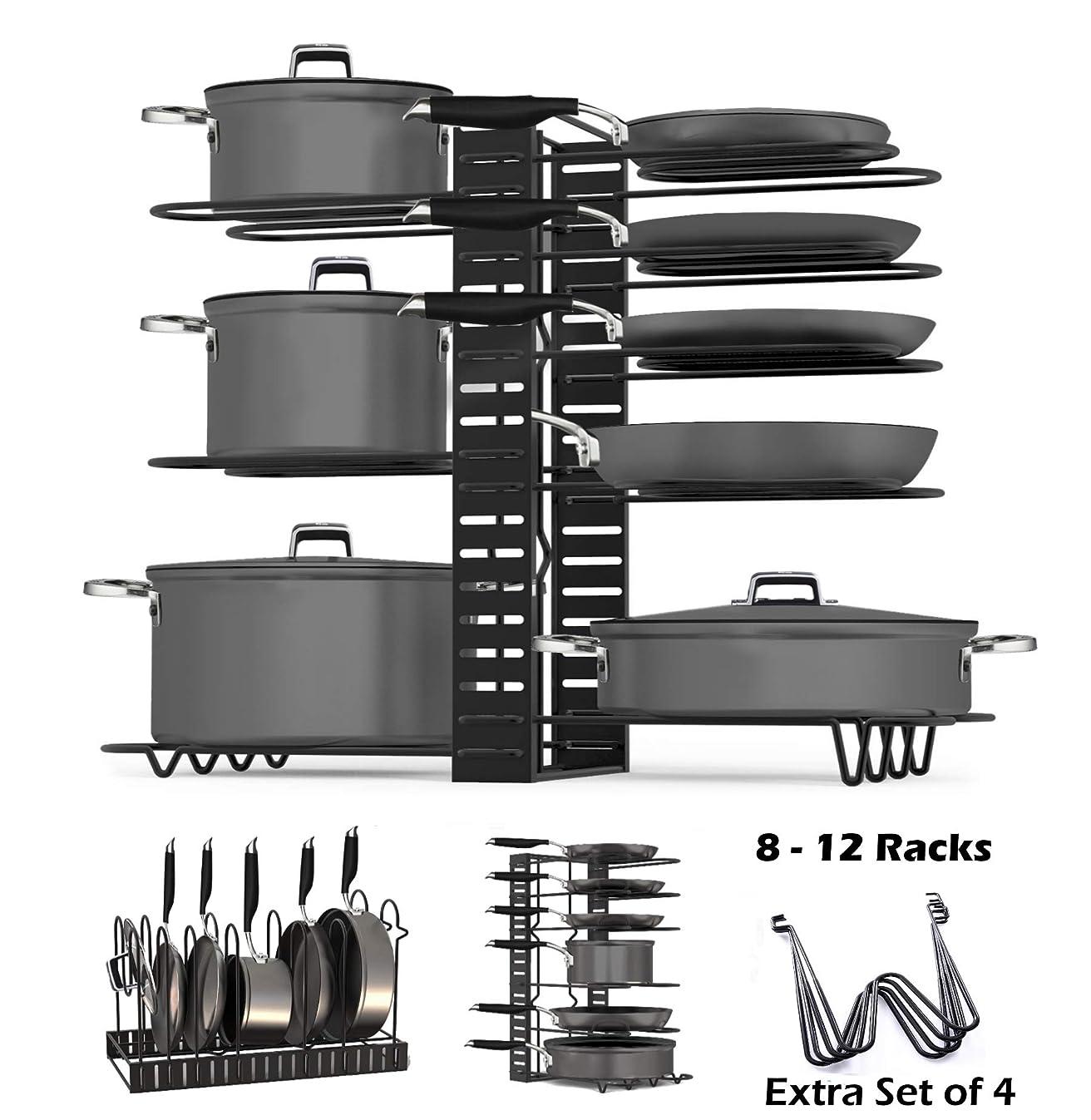 SKATCO Pot Organizer Rack – Metal Pots & Pans Organizer – Pantry & Kitchen Cabinet Organizer – Heavy Duty Lids, Dishes, Pots and Pans Organizer – Horizontal & Vertical Pan Rack with 3 Use Methods