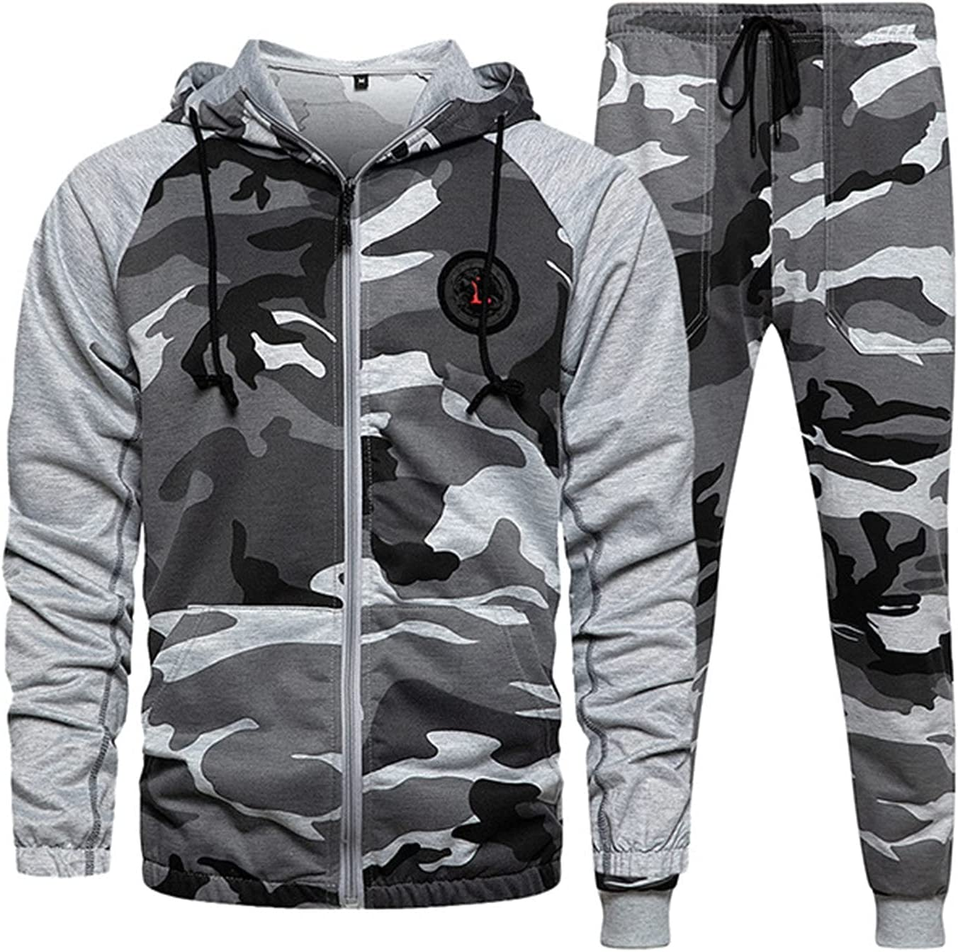 2-Piece Men's Casual Tracksuit Colorado Springs Mall Set Animer and price revision Camouflage Full-Zip Running J