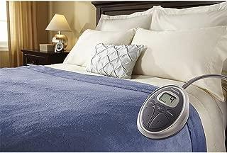 Sunbeam Luxurious Velvet Plush King Heated Blanket with 20 Heat Settings, Auto-Off, 2-Digital Controllers, 5 Yr Warranty - Blue