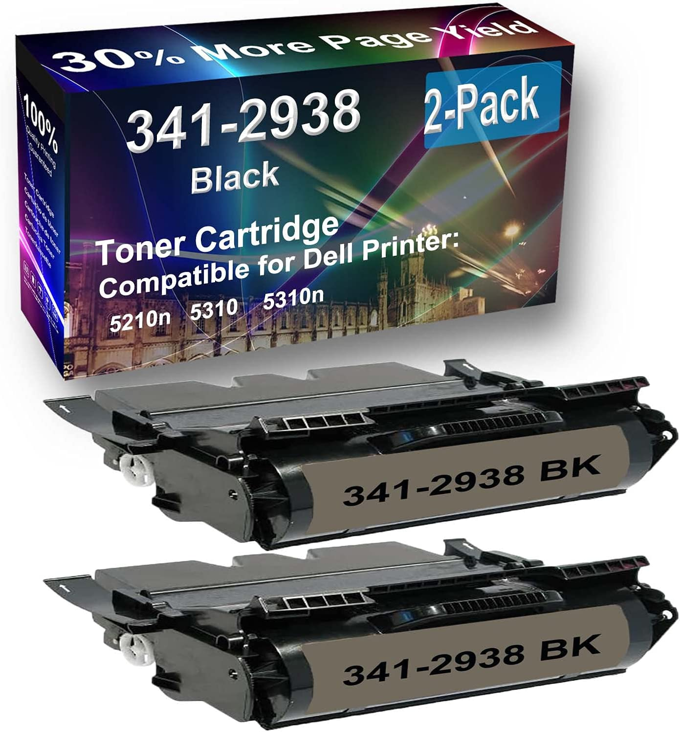 2-Pack Compatible High Yield 5310 Printer Cartridge Replacement for Dell 341-2938 Toner Cartridge (Black)