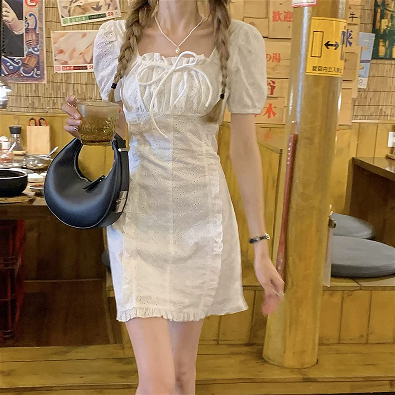 Mcttui White Square Neck Puff Sleeve Dress Female Summer Design Sense Small Slim Temperament Short Skirt (Color : White, Size : One Size)
