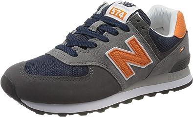 Amazon.com | New Balance 574 Trainers Men Grey/Orange Low Top ...