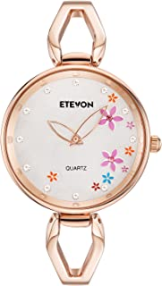 ETEVON Womens Quartz Rose Gold Bracelet Watch with Colorful Flowers and Crystal Water Resistant, Fashion