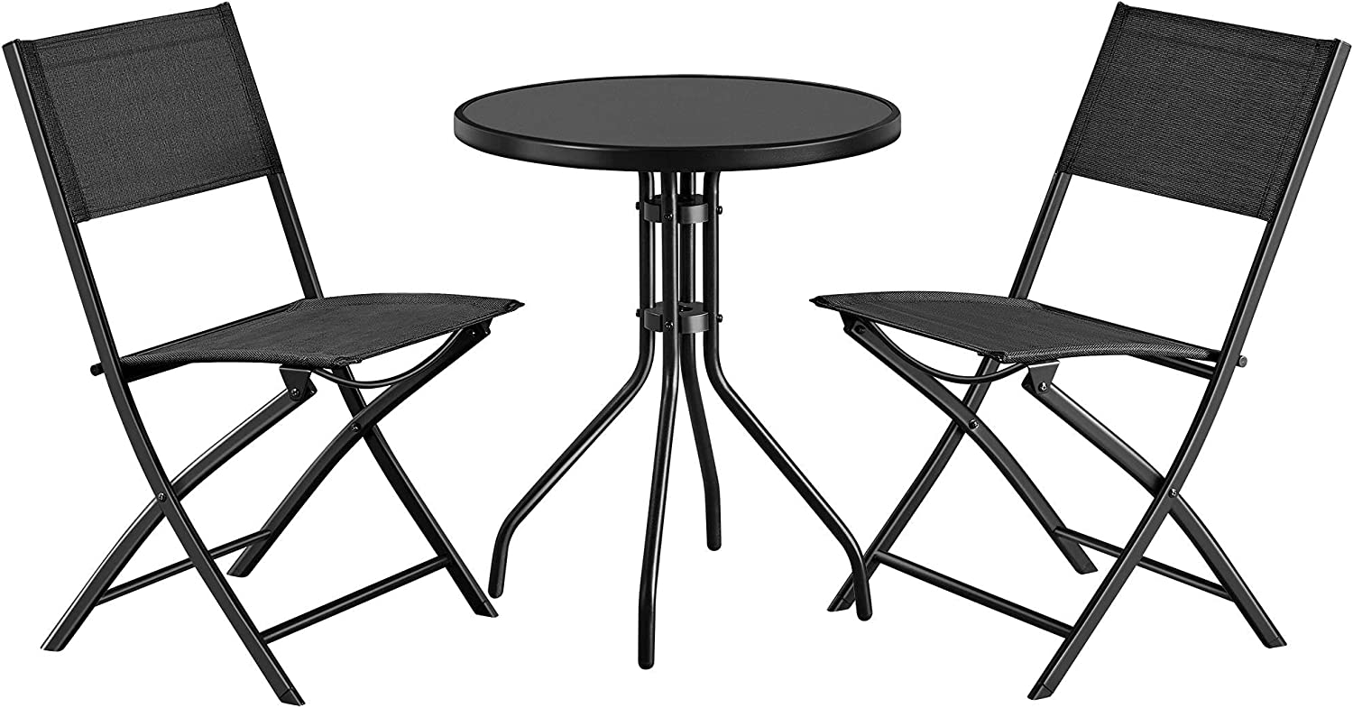 Charlotte Mall Topeakmart 3 OFFicial Pcs Folding Bistro Set Table of Patio R Garden