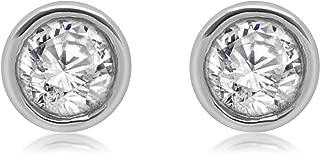 14K White Gold Round Diamond Bezel Set Solitaire Stud Earrings (0.50 Ct)