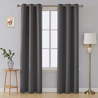 Deconovo Thermal Insulated Blackout Curtains Solid Grommet Window Curtain Panels for Living Room 42x90 Inch Dark Grey 2 Panels