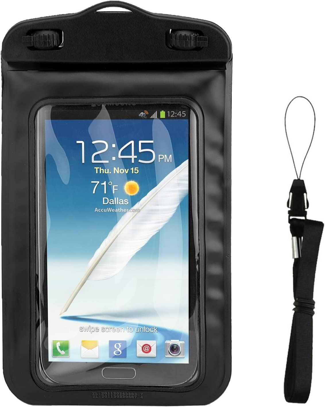 Waterproof Floating Cell Phone Pouch (Black) for Google Pixel 3 XL, 3a, 2 XL