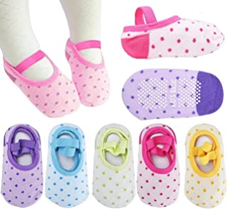 Pro1rise 5 Pairs Baby Girls Toddler Cartoon Dots Anti Slip Skid Foot Socks No-Show Crew Cotton Socks Sneakers 10-30 Months