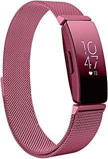 Magnetic Band Compatible with Fitbit Inspire/Inspire HR Fitness Tracker, Hamkaw Adjustable Milanese Loop Solid Stainless Steel Replacement Strap Watch Bands Accessories Men Women Red