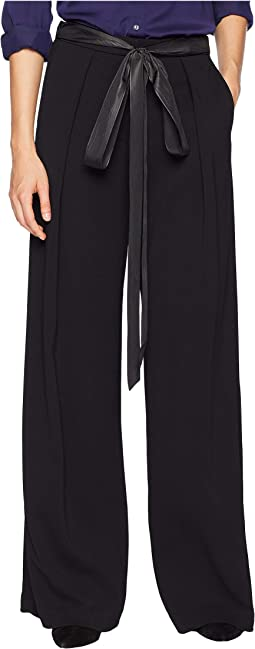 Stretch Crepe Trousers w/ Inverted Pleats