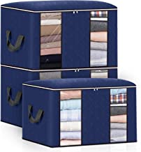 king do way Closet Organizer Clothes Storage Bags Large Capacity Storage Organizers with Reinforced Handle,Stainless Steel...