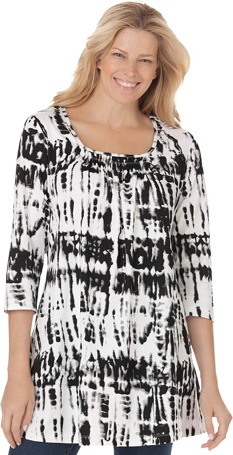 Woman Within Women's Plus Outlet sale feature Size Reservation Tunic Smocked Square-Neck Tie-Dye