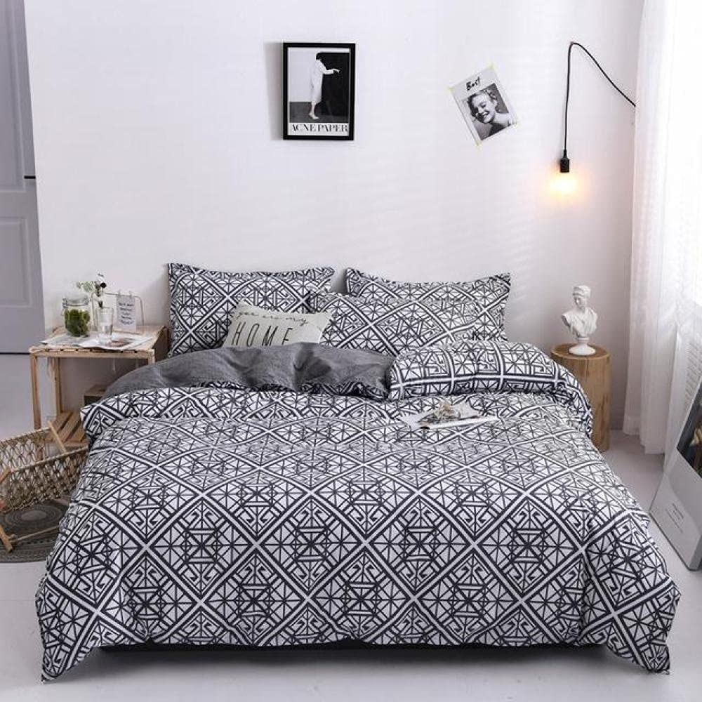 CLJKJDS Grey Geometric Print Bed Sheets CoverBed Duvet Special sale item Cover Be super welcome Set