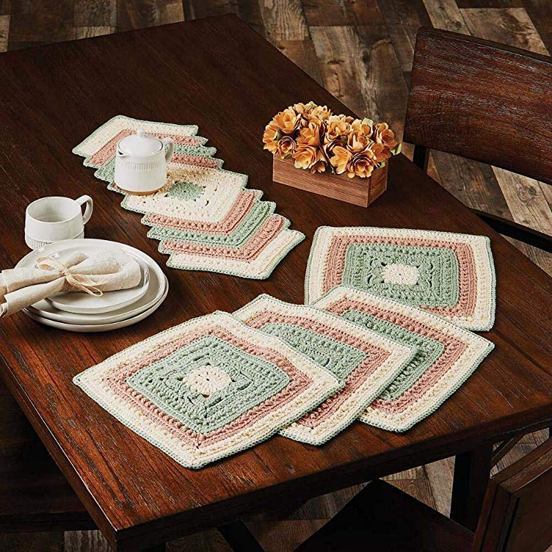 Herrschners Sage Leaf Table Runner Place Mats Set Of 2