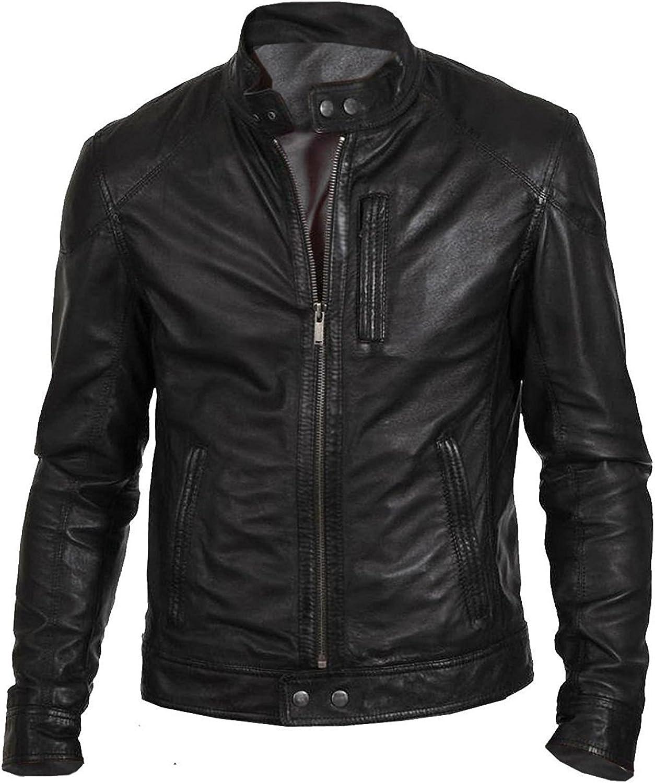 CHICAGO-FASHIONS Mens Black Slimfit Biker Hunt Motorcycle Leather Jacket