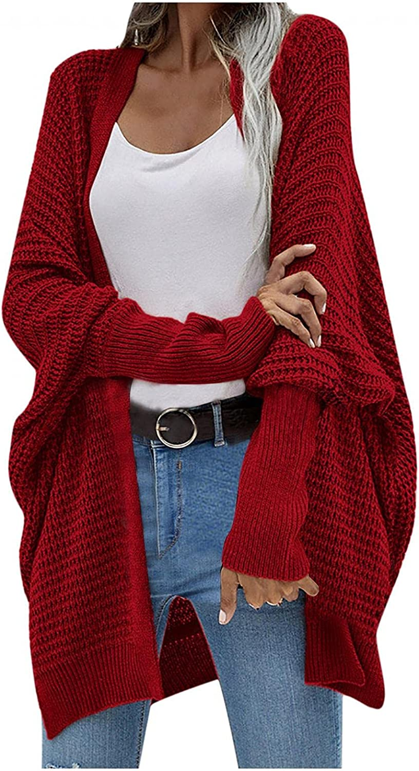 Oversized Sweaters for Women Cardigan Open Front Long Sleeve Blouse Casual Solid Color Outwear Tops
