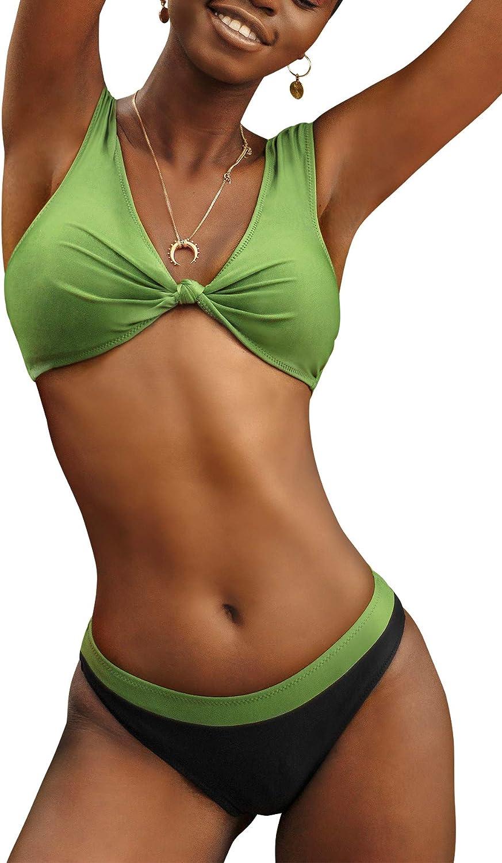 CUPSHE Women's High Cut Leg Green Knotted Cap Sleeve Bikini Sets