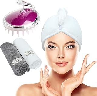 Walk Diary - Asciugamano per capelli in microfibra, per donne con shampoo bagnati e asciutti, confezione da 3