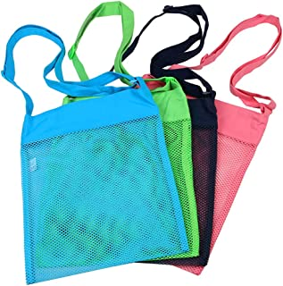 Colorful Mesh Beach Bags 11.4' x 13.7'inch Breathable Sea Shell Bags with Adjustable Carrying Straps (4 PC Set) Green, Blue, Tan & Red