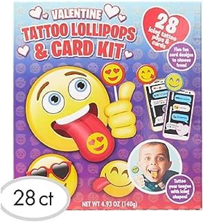 Emoji Valentine Exchange Cards with Tattoo Lollipops 28ct