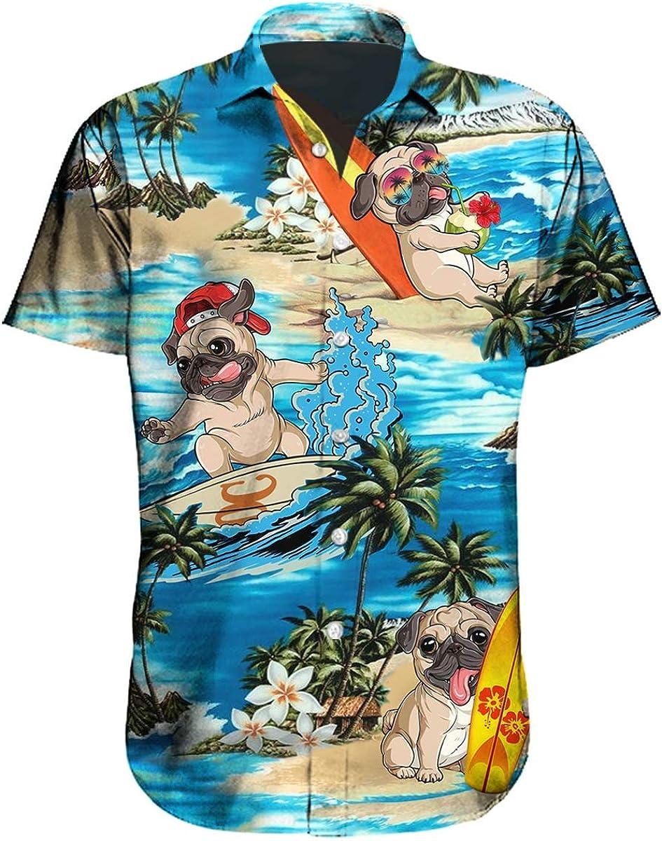 Loic Funny Pug Dog Button Down Short Sleeve Holiday Summer Beach Tropical Pug Surfing Hawaiian Shirt