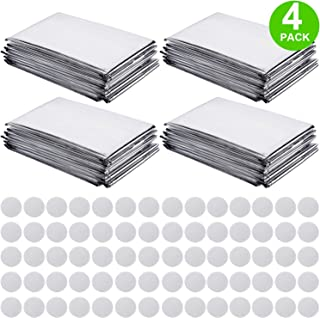 Pack of 4 High Silver Reflective Mylar Film Foil Sheet for Garden Greenhouse Covering Plant Growth, Effectively Increase Plants Growth, 70 Pieces Double Sided Foam Pads (210 x 130 cm)
