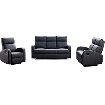 Furnituremaxi Boston Grey Bonded Leather 3+2+1 Seater Recliner Sofa Set Armchair