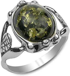Ian and Valeri Co. Green Amber Sterling Silver Classic Round Ring