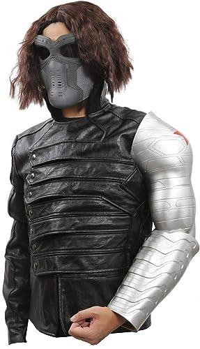 Mesky Buckys Arm Cosplay Requisit Winter Soldier Film Kostüm Zubeh aus PVC Silber One Größe Leicht Stabil 2 Teile Handwerk für Erwachsene
