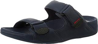FitFlop Men's Gogh Moc Slide In Leather Sandals, Dark Tan, 43 EU