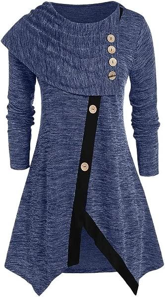 Shusuen Women Long Sleeve Hooded Asymmetric Hem Casual Tunic Button Decored Sweatshirt High Low Hem Pullover