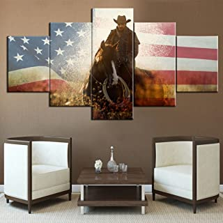 Horse Painting Native American Cowboys Decor USA Flag Background Wall Art for Living Room Pictures for Walls Home Decor 5 Piece Canvas Modern Artwork Giclee Wooden Framed Ready to Hang(60''Wx32''H)