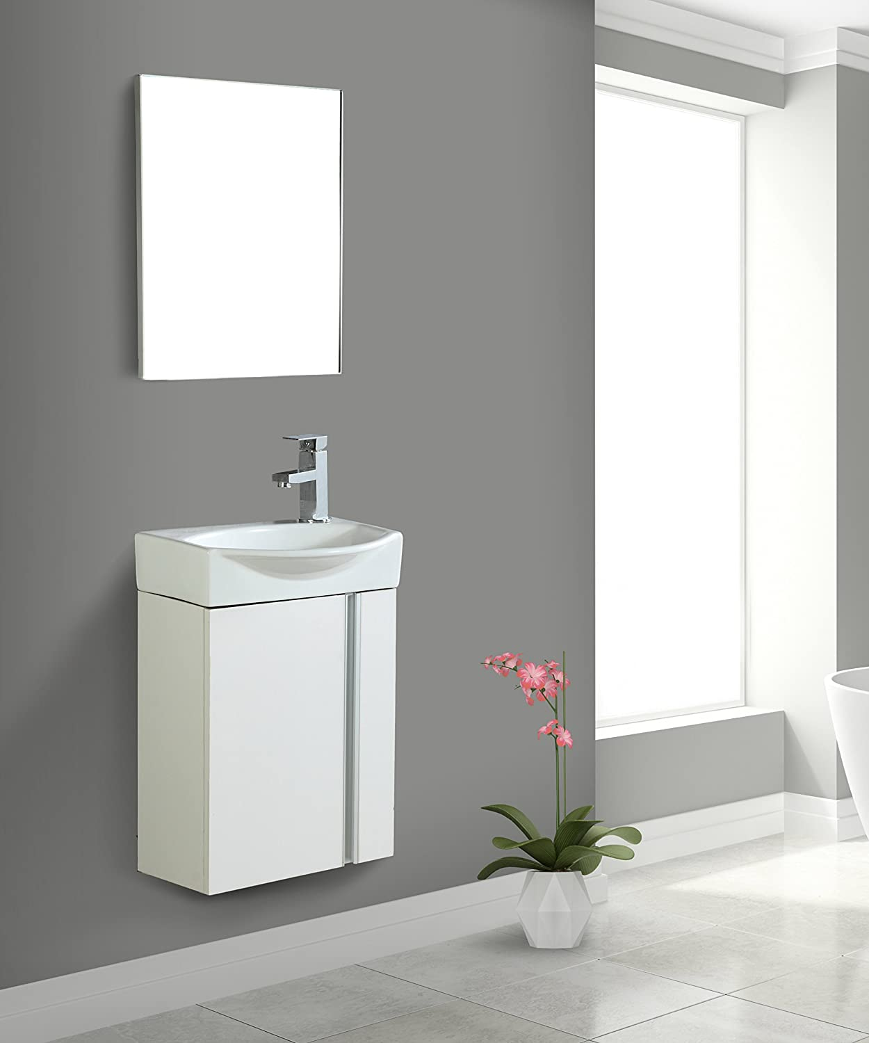 Buy Fine Fixtures Compacto Small Bathroom Vanity Set With Sink Wall Mounted Cabinet Sink Top And Mirror Included White Online In Vietnam B01msn4aao