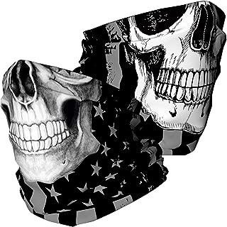 Skull Face Mask Bandana, Motorcycle Face Mask for Men Women, Skeleton Half Face Mask Sun UV Dust Wind Protection Rave Face Shield Neck Gaiter for Biker Riding Cycling Fishing Hunting Outdoor Festival