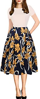 Women's Vintage Patchwork Pockets Puffy Swing Casual Party Dress OX165