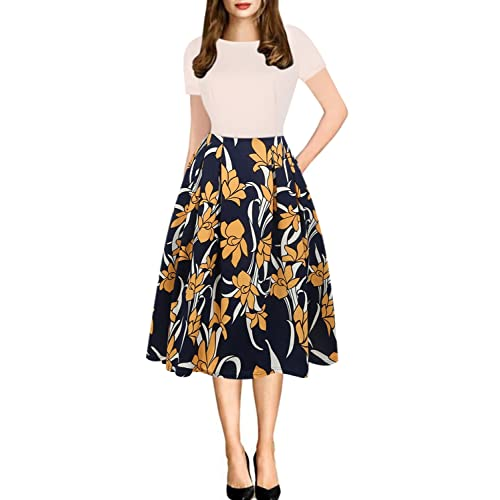 c3aa8fe04f5 oxiuly Women s Vintage Patchwork Pockets Puffy Swing Casual Party Dress  OX165