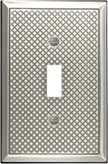 Questech Pyramid Decorative Metal Composite Switch Plate Wall Plate Outlet Cover (Single Toggle, Brushed Nickel Polish)