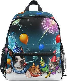 MASSIKOA New Year Cat Dog Parrot Hamster Celebration Lightweight Travel School Backpack for Boys Girls Kids