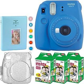 Fujifilm Instax Mini 9 Instant Camera (Cobalt Blue) + Fujifilm Instax Mini Twin Pack Instant Film (60 Exposures) + Glitter Hard Case + Album 128 Photos + 6 Colored Lens Filters ? Full Accessory Bundle
