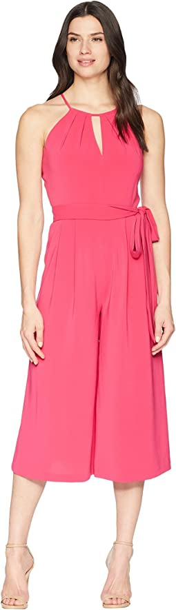 Vince Camuto Satin Back Cropped Jumpsuit with Keyhole