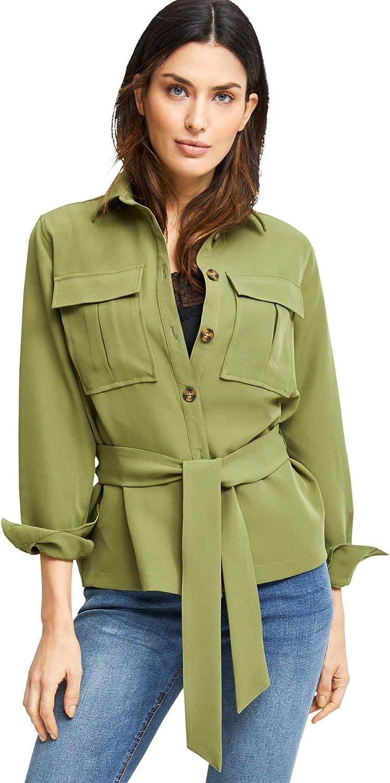 ellos Women's Plus Size Belted Utility Shirt Jacket