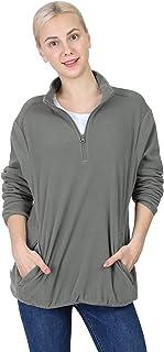 Outdoor Ventures Women's Soft Polar Fleece Quarter-Zip Pullover Jacket Long-Sleeve 1/4 Zip Top with Pockets
