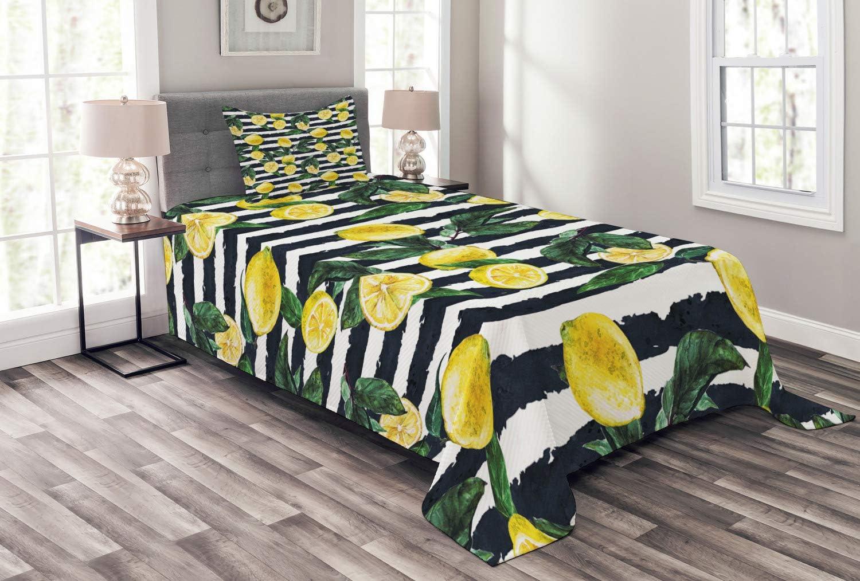 Ambesonne Modern Bedspread Watercolor Lemons Under blast sales Max 40% OFF o Style Refreshing
