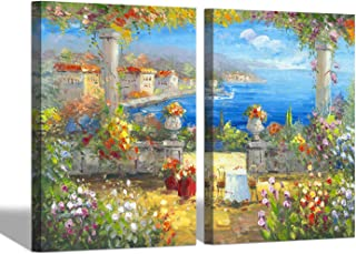 Abstract Italian Landscape Wall Art - Coastal Flowers Garden Canvas Artwork Mediterranean Oil Painting Picture for Living Room (24'' x 18'' x 2 Panels)