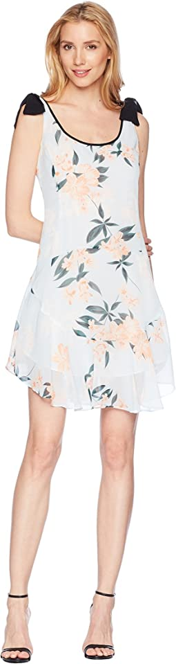 Donna Morgan Printed Chiffon Scoop Neck with Flounce Skirt and Tie Shoulder