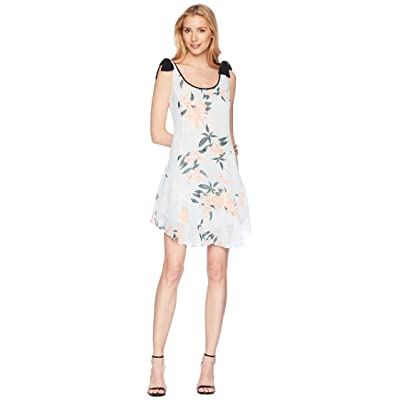 Donna Morgan Printed Chiffon Scoop Neck with Flounce Skirt and Tie Shoulder (Blue/Pink Multi) Women