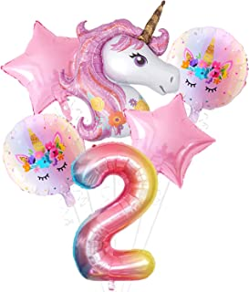 Pink Unicorn 2nd Birthday Decorations Set - Large, Pack of 6 I Rainbow Number 2 Foil Balloon I Star and Round Mylar Balloo...