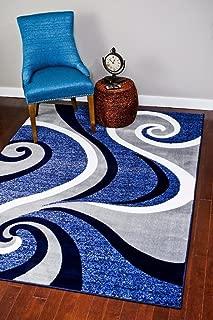 0327 Blue 8x10 Area Rug Carpet Large New
