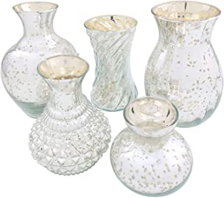 ART & ARTIFACT 5 Piece Mercury Glass Flower Vase Set - Silver Finish - Different Shapes and Sizes 4