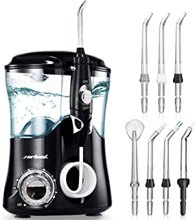 Dental Water Flosser Teeth Cleaner - Zerhunt High Frequency Pulsed Water Flosser Electric Oral Irrigator with 7 Interchangeable Nozzles for Braces, Implants, Bridges, 600ML Large Capacity Black
